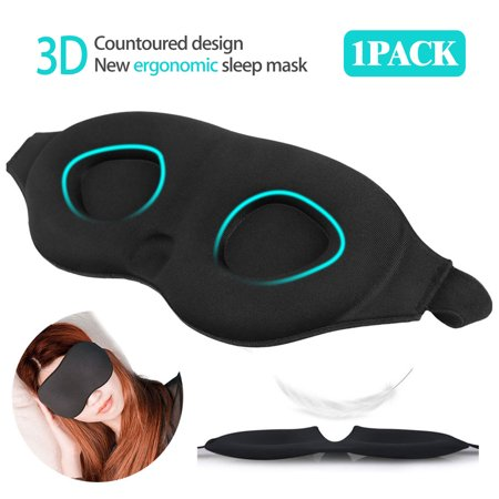 Sleep Eye Mask for Men Women, 3D Contoured Cup Sleeping Mask & Blindfold with Ear Plug Travel Pouch, Concave Molded Night Sleep Mask, Block Out Light, Soft Comfort Eye Shade (Best Way To Block Out Snoring)