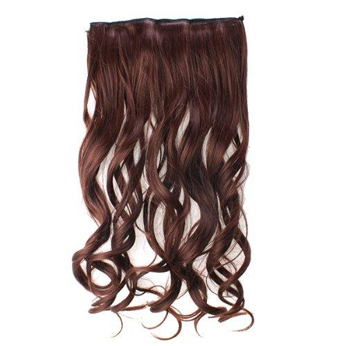 "AGPtek 24""Full head clip in Synthetic hair extensions human made hair- dark brown"