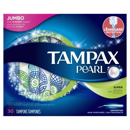 Tampax Pearl Tampons With Plastic Applicator  Super  Unscented  50 Ct