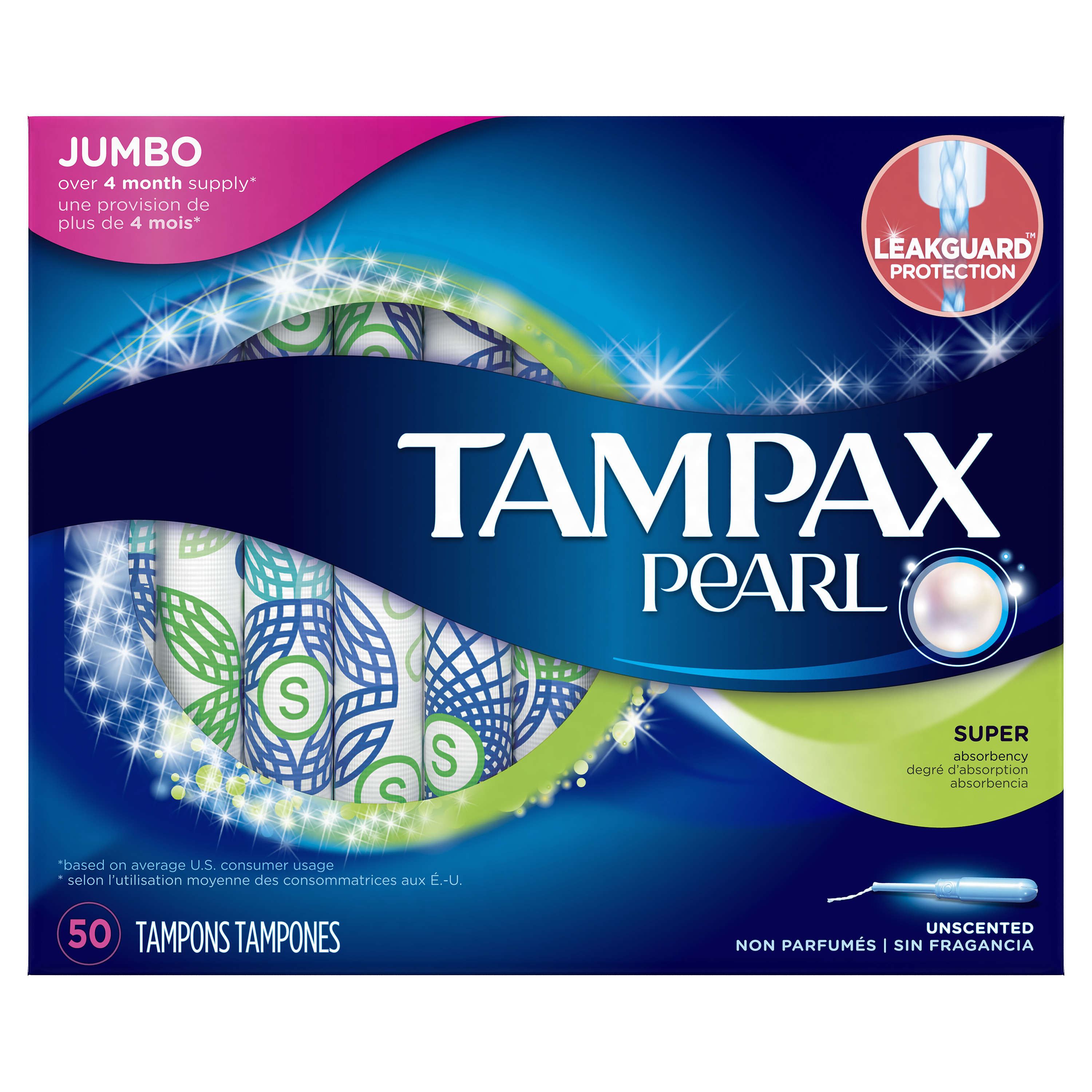 Tampax Pearl Super Plastic Tampons, Unscented, 50 Count