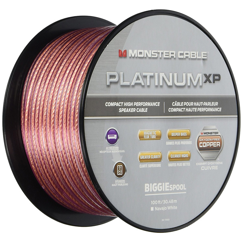 Monster MC PLAT XPMS-100 WW 140731 Platinum Clear Jacket MKIII 100' Compact Speaker Cable Clear/Copper