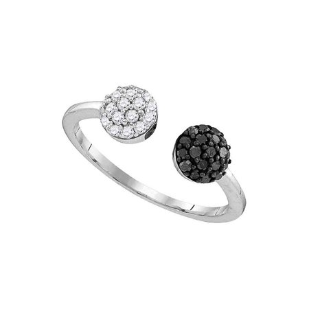 Sterling Silver Womens Round Black Color Enhanced Diamond Bisected Cluster Band Ring 1/3 Cttw