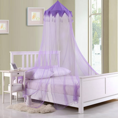 Kids Harlequin Collapsible Hoop Sheer Mosquito Net Bed Canopy (Girls Purple Bed Canopy)