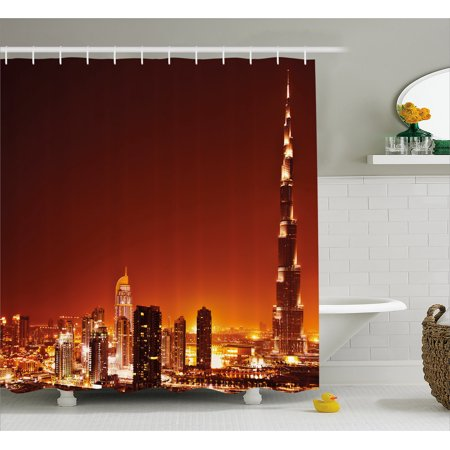 Landscape Shower Curtain, Arabic Dubai Downtown with Cityscape Skyscrapers Sunset Middle East City Photo, Fabric Bathroom Set with Hooks, 69W X 70L Inches, Multicolor, by Ambesonne