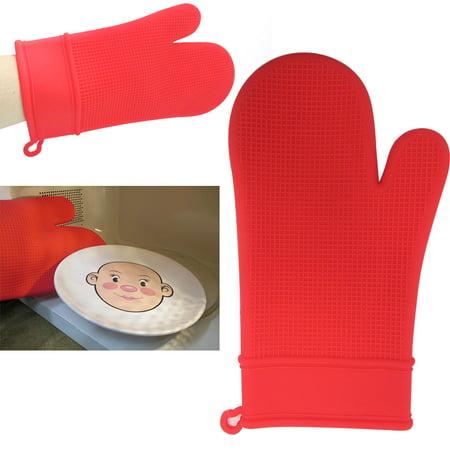 2 Silicone Heat Resistant Oven Non Slip Safe Grip Cooking Pot Holder Mitt ()