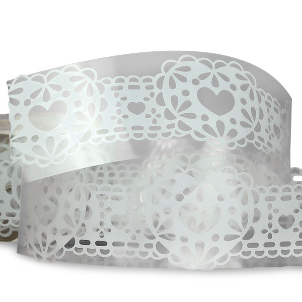 """White Heart Lace Tape 1 1/4"""" X 3'  by Paper Mart"""