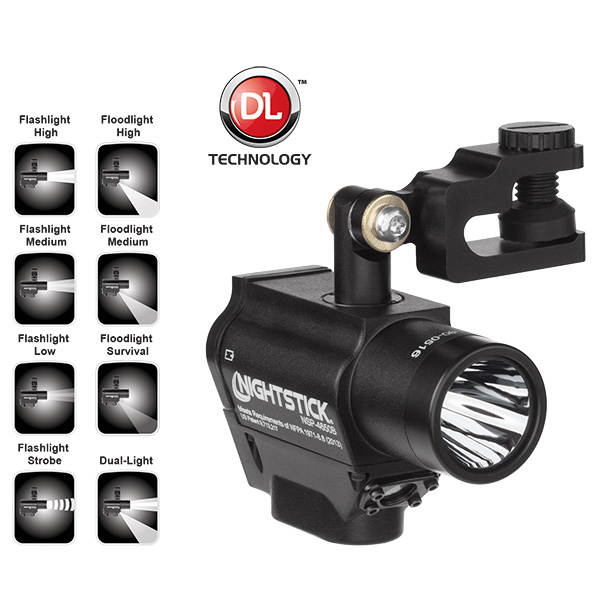 Nightstick NSP-4650B Helmet-mounted Multi-Function Dual-Light Flashlight