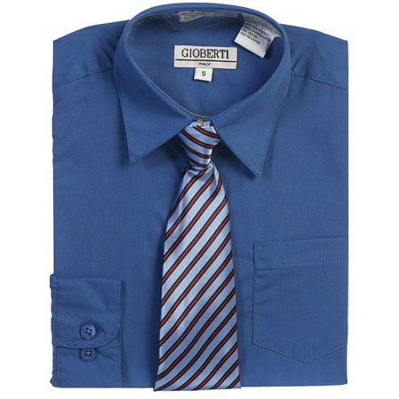Royal Blue Button Up Dress Shirt Striped Tie Set Toddler Boys 2T-4T