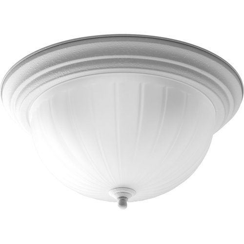 Progress Three Light Flush Mount, White Finish with Etched Ribbed Glass