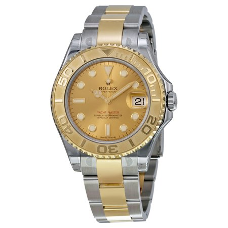 Pre-owned Rolex Yacht-Master Gold Dial Stainless Steel and 18K Yellow Gold Oyster Bracelet Automatic Unisex Watch