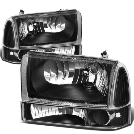 For 2000 to 2004 Ford F250 / F350 / F450 / F550 Super Duty / Excusion 4pcs Headlight+Bumper Lamp Kit Black Housing Clear Side 01 02