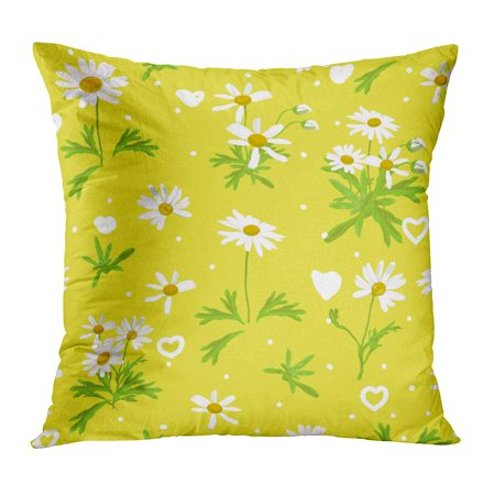 ECCOT Green Abstract Yellow for Lover Daisy The White is Blossom Dot Floral Flower Heart Pillowcase Pillow Cover Cushion Case 16x16 inch - Yellow Daisies
