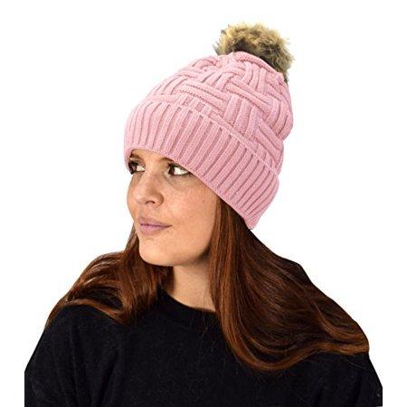 Peach Couture Classic Womens Warm Hand Knit Pom Thick Winter Ski Snowboard Hat - image 1 de 1