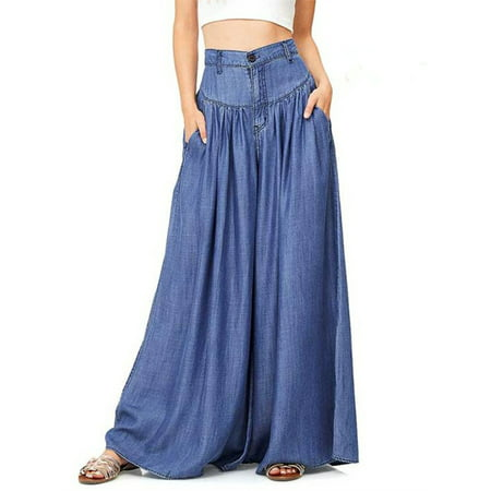 Women High Waist Wide Leg Casual Pants Loose - 21 Waist