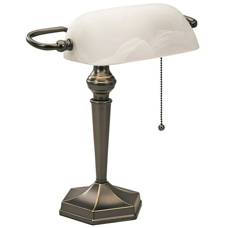 V-LIGHT Traditional Style CFL Banker's Desk Lamp with White Glass Shade, Satin Black Finish