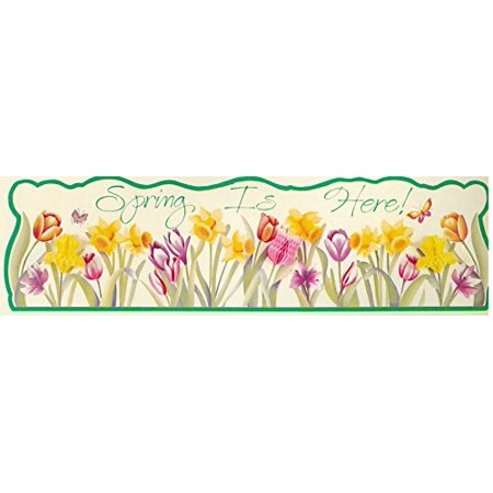 Eureka 4 Foot Spring Banner with Honeycomb Tissue Flowers - Banner Flowers