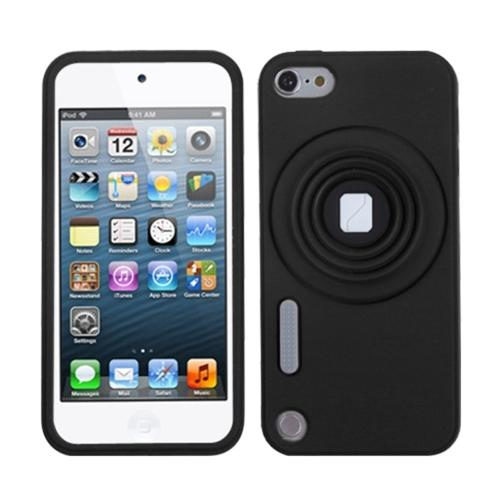 Insten Black Camera Style Stand Pastel Skin Case (with Lanyard) for APPLE: iPod touch (5th 6th Gen 5 6)