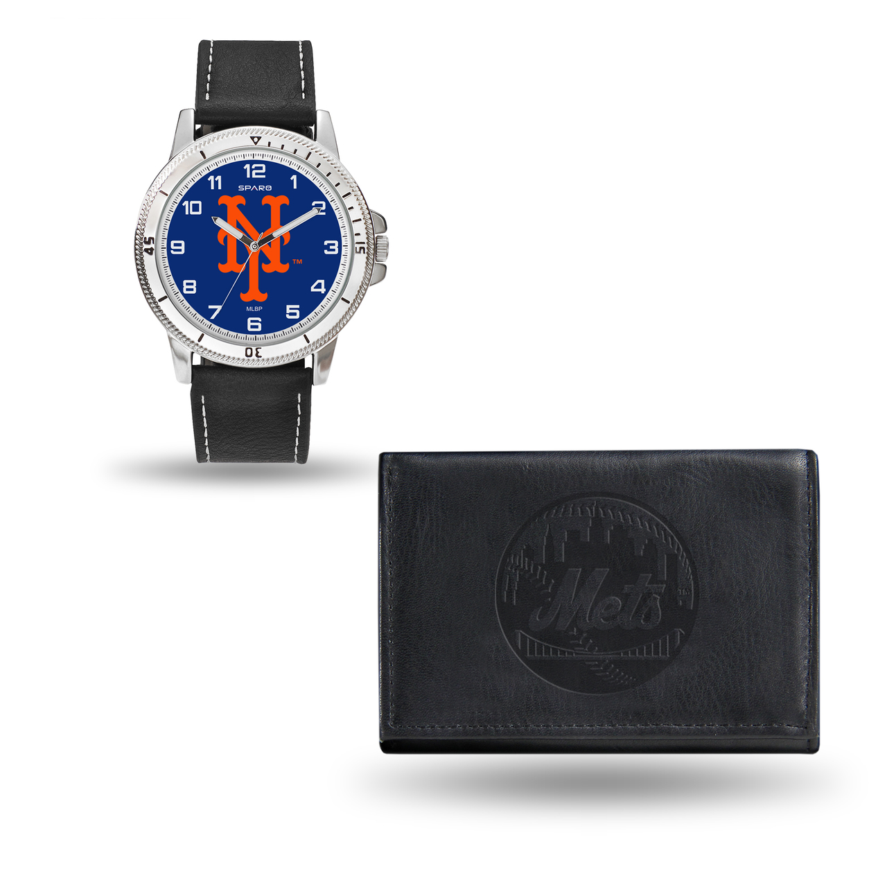 New York Mets MENS Black Watch and Wallet - image 1 of 1