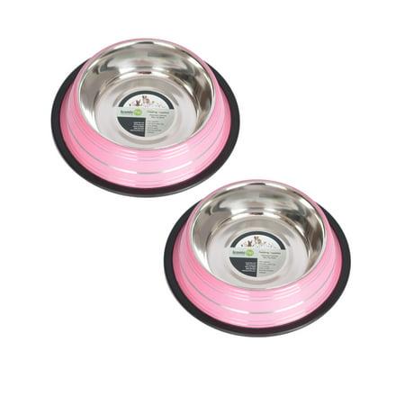 2-Pack Color Splash Stripe Non-Skid Pet Bowl, For Dog or Cat, Pink, 24 Oz, 3 (Pink Dot)