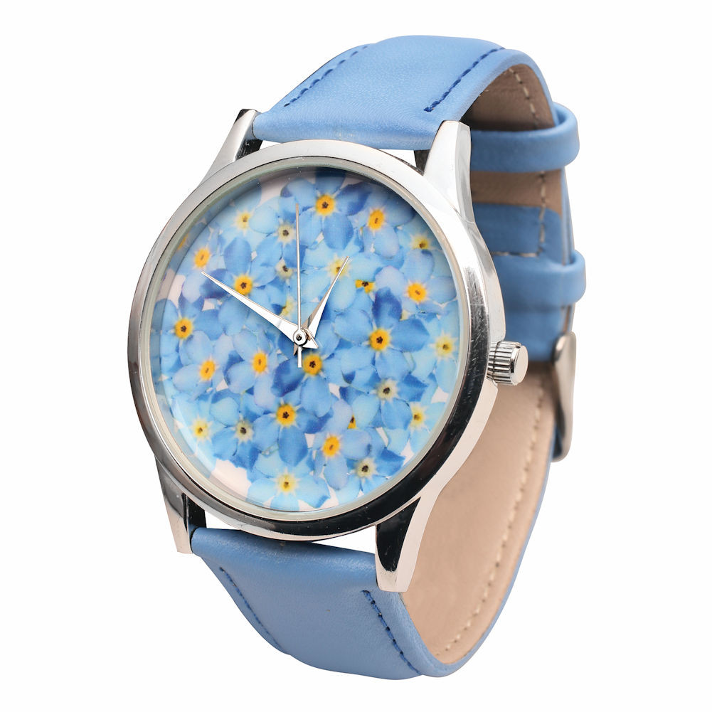 Women's Blue Leather-Band Watch - Forget-Me-Nots Flower Face