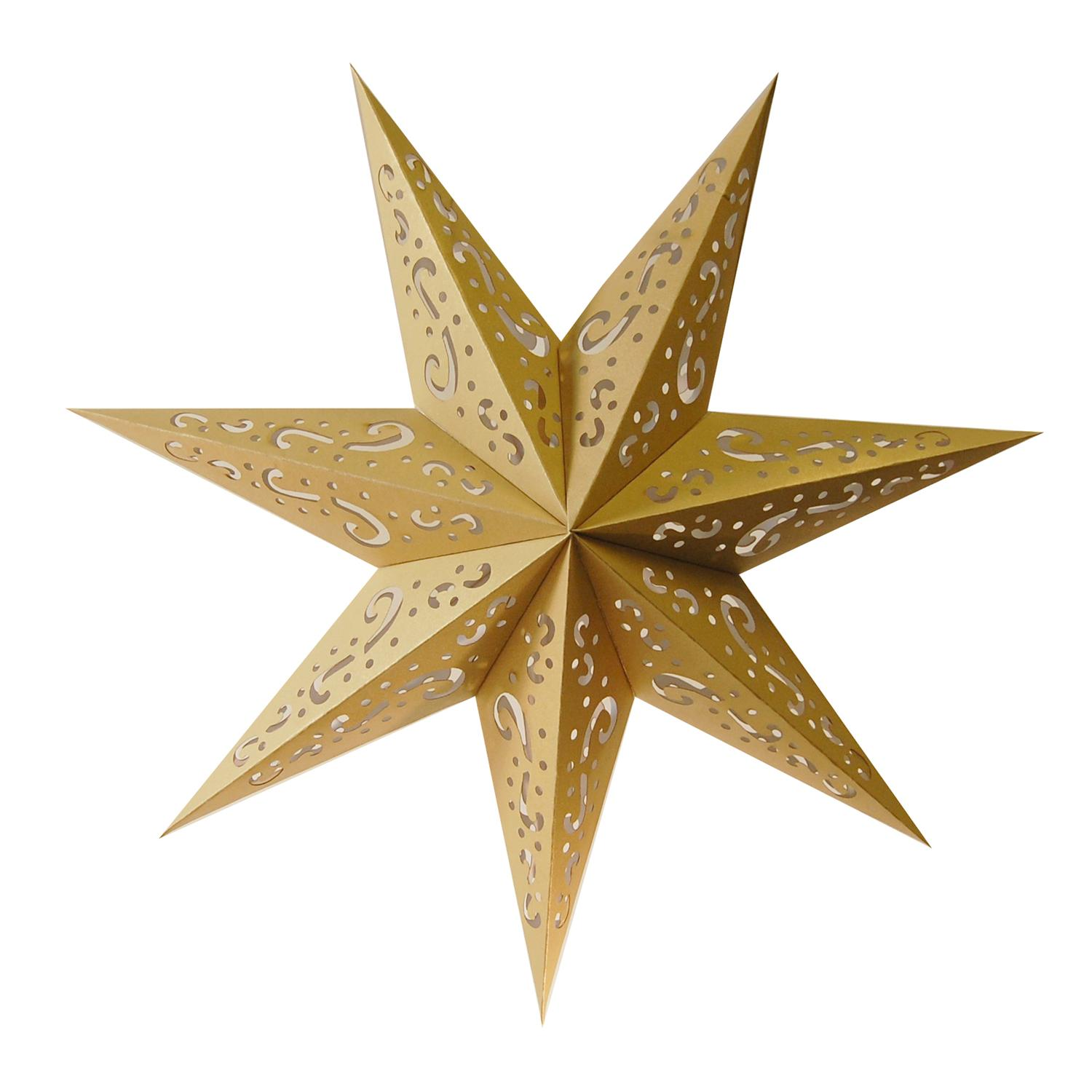 """Pack of 3 Hanging Gold 7 Point Star Paper Lanterns with Swirl Design 16"""""""