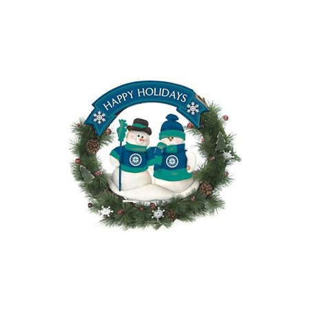 Seattle Mariners Official MLB Team Snowman Wreath by SC Sports 047926