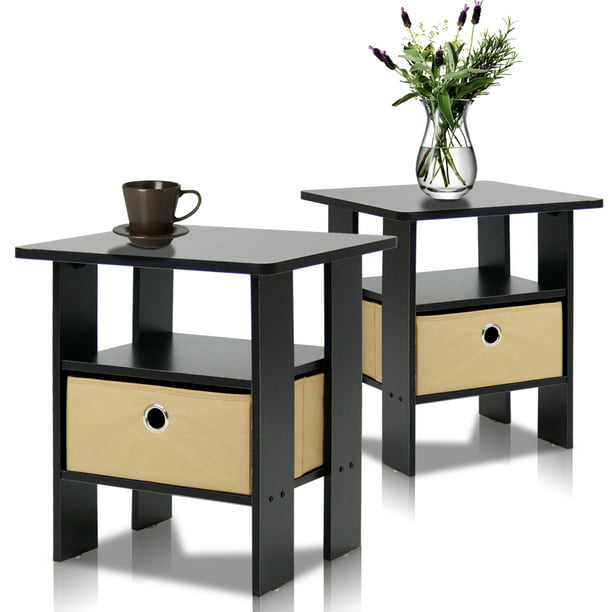 Furinno 2 Petite End Table Bedroom Night Stand - Set of Two