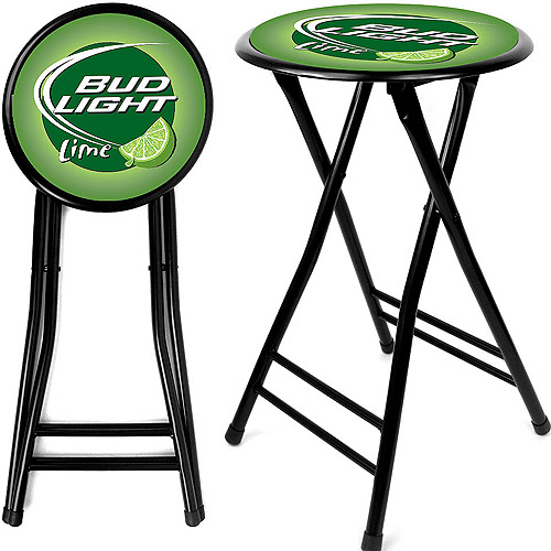 "Trademark Global Bud Light Lime 24"" Cushioned Folding Stool, Black"