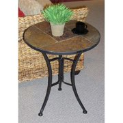 End Table In Metal W Black Finish And Slate Top Walmart Com