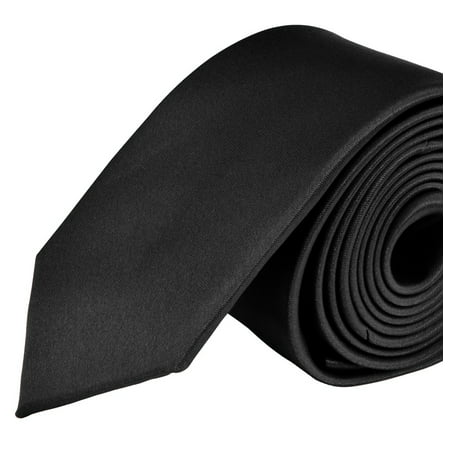 Moda Di Raza- Mens Skinny Slim Neck Tie - Silk Finish Polyester Men Necktie - Solid Color Long Ties for Men - Fashion Tie - Black ()