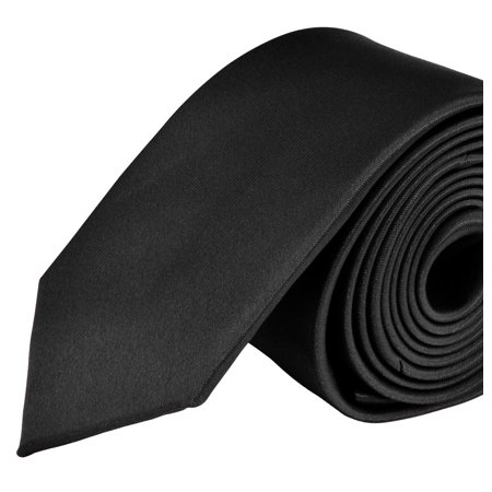 Moda Di Raza- Mens Skinny Slim Neck Tie - Silk Finish Polyester Men Necktie - Solid Color Long Ties for Men - Fashion Tie - Black