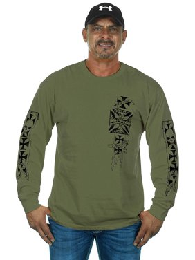 cf4e06e6 Product Image JH Design Group Mens Graphic Print Iron Cross & Skull Design  Long Sleeve Biker T-