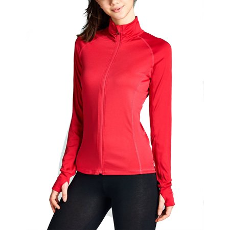 (KOGMO Womens Performance Zip Up Stretchy Work Out Track Jacket)