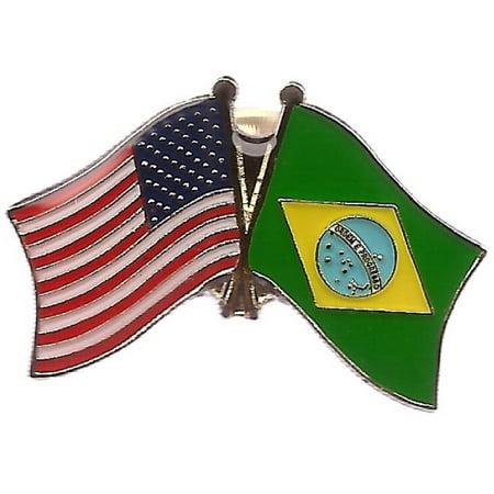PACK of 3 Brazil & US Crossed Flag Lapel Pins, Brazilian & American Friendship Pin Badge - Us Flag Pins