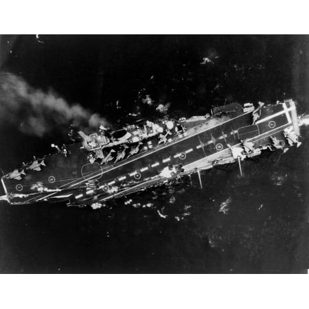 LAMINATED POSTER An overhead view of the Royal Navy aircraft carrier HMS Ark Royal (R09), taken from an aircraft from Poster Print 24 x