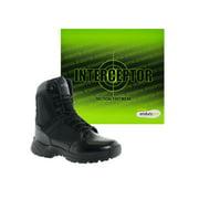 Interceptor Pilot Mens Zippered Tactical Work Boots, Slip Resistant, Waterproof, Black