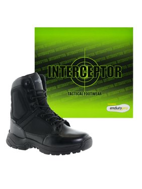 Interceptor Pilot Mens Zippered Tactical Work Boots, Slip Resistant, Waterproof, Black