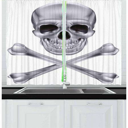 Silver Curtains 2 Panels Set, Vivid Skull and Crossbones Dangerous Scary Dead Skeleton Evil Face Halloween Theme, Window Drapes for Living Room Bedroom, 55W X 39L Inches, Dimgray, by