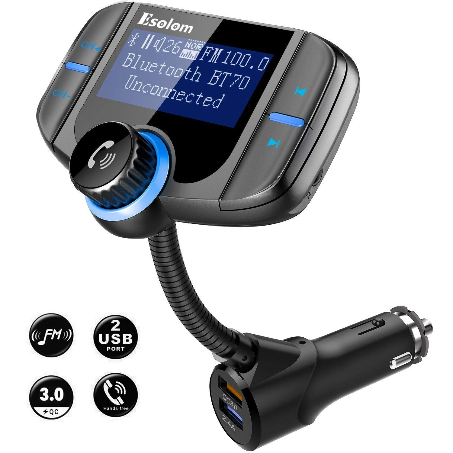 Sawpy Bluetooth FM Transmitter Wireless Car Stereo Radio Adapter Receiver Hands-free Calling Car Kit
