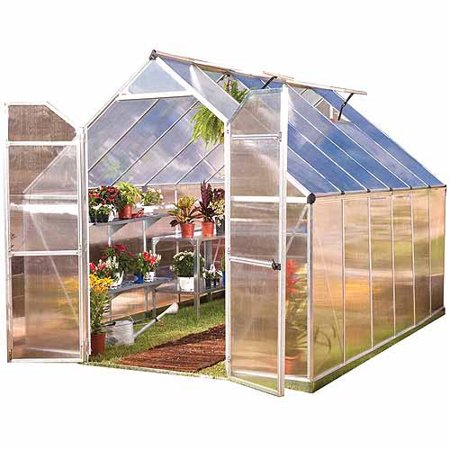 Palram Nature Series Essence 8' x 12' Hobby Greenhouse, Silver (Box 1 of 2)