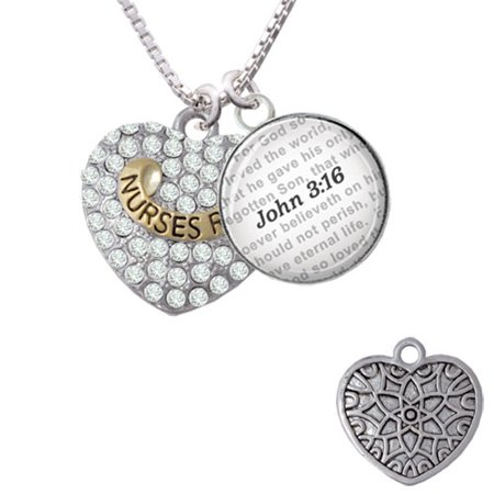 Glass Gold Foil Heart Pendant - Gold Tone 'Nurses Rock' on Clear Crystal Heart - Bible Verse John 3:16 Glass Dome Necklace