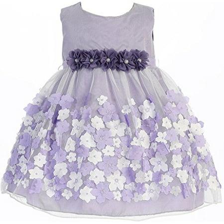 4ee75c07480 BNY Corner - Baby   Infant Flower Girl Dress Tulle Overlay Satin Dress  Lavender S KD333 - Walmart.com