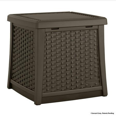 Suncast Elements Resin Patio Storage Side Table Java