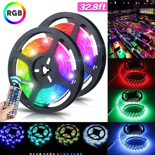 32 8ft 10m Led Strip Lights Tsv 600leds Waterproof Flexible Rgb Lights Self Adhesive Rgb Multicolor Changing 12v 2a 3528 Decoration Rope Light Kit For Room Kitchen Tv With 44key Remote Control Walmart Com