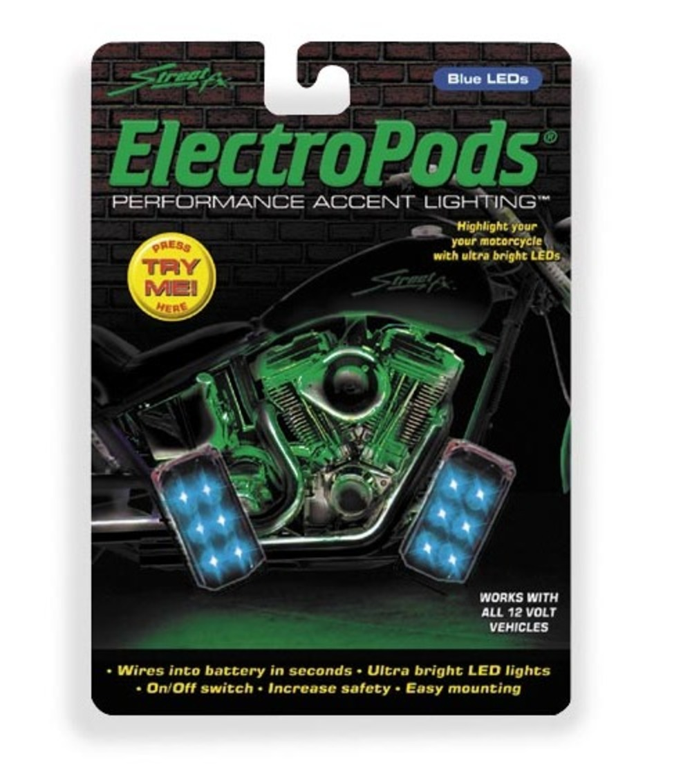 Street FX 1041892 Electropods Rectangle Lightpods - Blue/Black