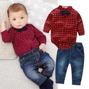 2pcs Kids Baby Boy Romper Bodysuit Jumpsuit Tops+Jeans Pants Outfits Clothes Set