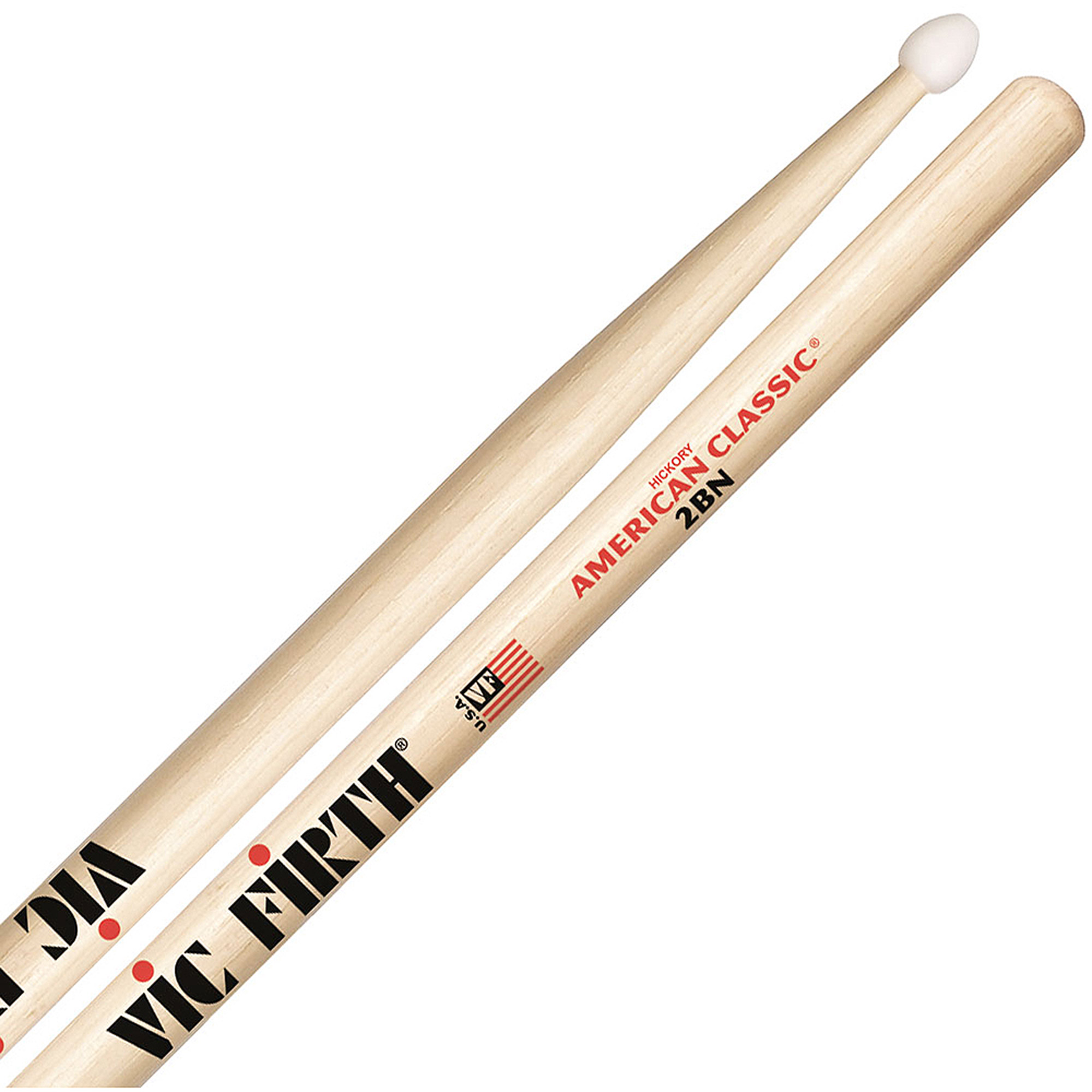 Vic Firth American Classic 2BN Nylon Tip Hickory Drumsticks by Vic Firth