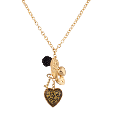 Engraved Leopard - Lux Accessories Leopard Animal Print Key Lock Wing Heart Black Rose Charm Necklace