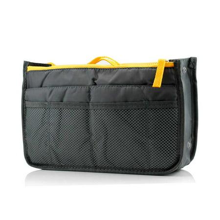 Bag Organizer Insert - Durable Travel Makeup Nylon Cosmetic Insert Handbag Purse Zipper Case Organizer