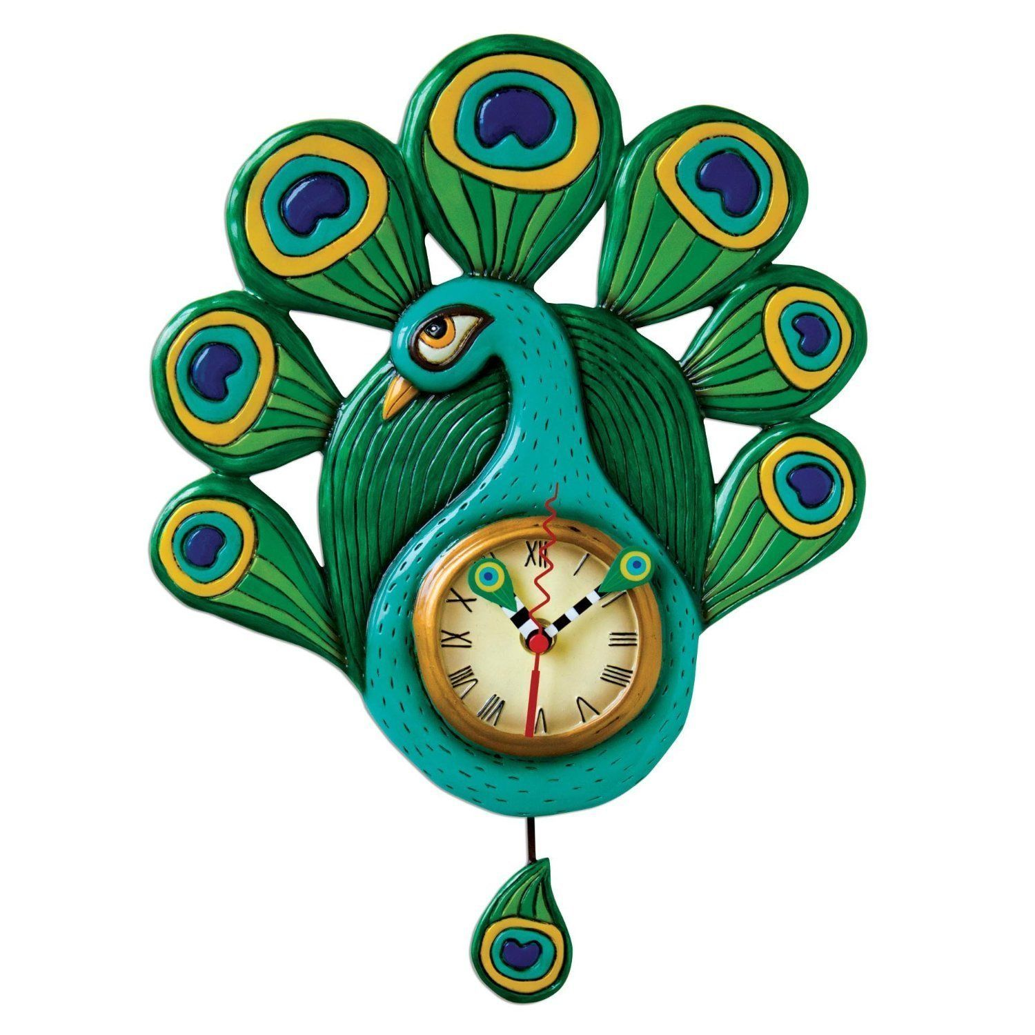 Allen Designs Pretty Peacock Pendulum Childs Kids Whimsical Wall Clock